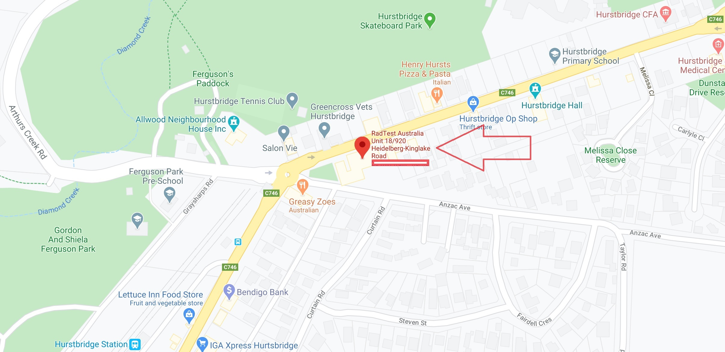 How to find RadTest - 18/920 Heidelberg-Kinglake Rd, Hurstbridge, VIC, 3099 (park at rear, Anzac Ave)